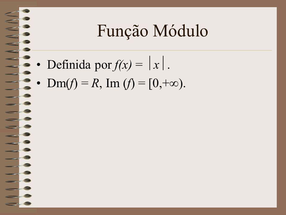 Função Módulo Definida por f(x) = x. Dm(f) = R, Im (f) = [0,+).